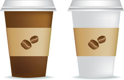 Coffee cups. Illustration of 2 blank coffee cups on white Stock Images