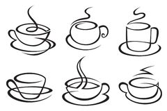 Coffee cups. Set of monochrome coffee cups vector illustration