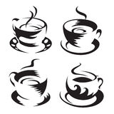 Coffee cups. Set of monochrome coffee cups royalty free illustration