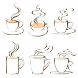 Coffee cups. Set of 6 stylized coffee cups vector illustration