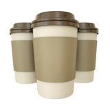 Coffee cups. Three takeaway coffee cups. 3D render royalty free illustration