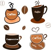 Coffee cups. Illustration of the four different coffee cups in cartoon style royalty free illustration