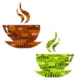 Coffee cups. Couple of original coffee cups isolated. illustration Stock Photo