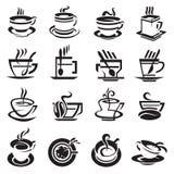 Coffee cups. Set of sixteen monochrome coffee cups Stock Photo