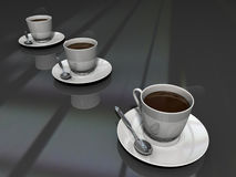 Coffee cups. Three coffee cups with black backgruond Royalty Free Stock Photography