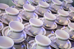 Coffee cups. Lots of empty coffee cups stock photos