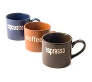 Coffee cups. Coffee,espresso,cappuccino cups isolated on white background Stock Image