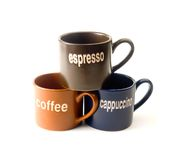 Coffee cups. Coffee espresso cappuccino cups isolated on white background Stock Images