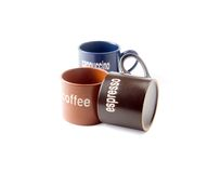 Coffee cups. Coffee espresso cappuccino cups isolated on white background Stock Image
