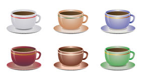 Coffee cups. Vector illustration of six coffee cups in various color combinations. Isolated on white Royalty Free Stock Photography