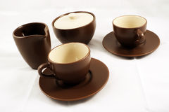 Coffee cups. Sugar and milk Stock Images