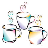 Coffee Cups. An illustration of colorful coffee cups containing steaming hot coffee, isolated on white background Royalty Free Stock Photo