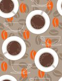 Coffee cups from above. Seamless pattern in retro style Stock Photography