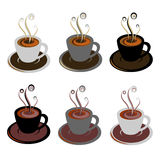 Coffee cups. Abstract illustration of coffee cups on grey background Stock Photos