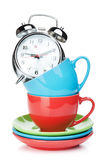 Coffee cups and alarm clock Royalty Free Stock Photo