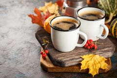 Coffee Cups And Pumpkins Royalty Free Stock Photography