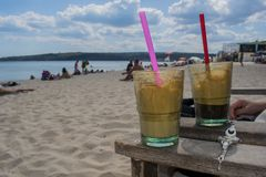 Coffee cups on the beach. Of Varna in the heat of the summer Royalty Free Stock Image