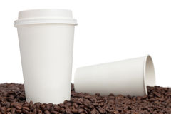 Coffee Cups and Beans Stock Photos