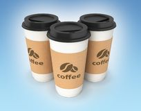 Coffee cups on blue gradient background 3d. Coffee cups on blue gradient background stock illustration