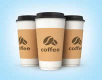 Coffee cups on blue gradient background 3d royalty free illustration