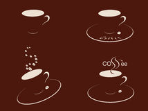 Coffee cups braun. Four coffee cups shadow and coffee beans over braun background Stock Images