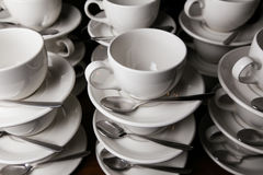 Coffee cups. Catering. Mugs on a wooden table Stock Photography