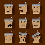 Coffee Cups Character elements icon set. Royalty Free Stock Image