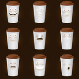 Coffee Cups Characters - Cute set of 9 coffee cups. Coffee Cups Characters - Cute set of 8 coffee cups characters. Eps10 Stock Images