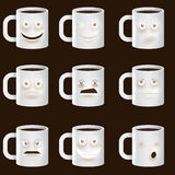 Coffee Cups Characters - Cute set of 9 coffee cups Royalty Free Stock Photos