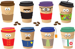 Coffee Cups Characters. Cute vector set of 8 coffee cups characters. Eps10 Royalty Free Stock Photos