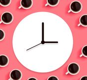 Coffee cups with clock. Overhead view flat lay stock illustration