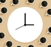 Coffee cups with clock. Overhead view flat lay vector illustration