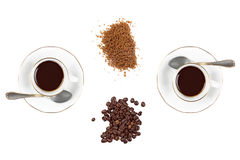 Coffee Cups with Coffee Beans and Brown Sugar Stock Photos