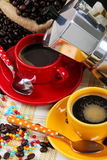 Coffee cups with coffee maker Royalty Free Stock Photography