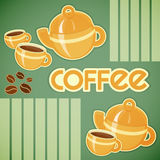 Coffee cups, coffee pot and coffee beans Royalty Free Stock Image