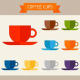 Coffee cups colored templates for your design in Stock Image