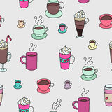 Coffee cups colorful cute seamless pattern. Coffee cups colorful cute seamless  pattern. Hand drawn coffee cups set for textile or wrapping paper postcard poster Stock Photos