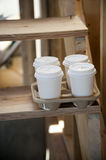 Coffee cups at construction zone Royalty Free Stock Photography