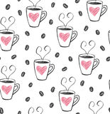 Coffee cups cute pattern vector Stock Photography