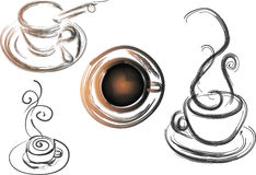 4 coffee cups Stock Photos