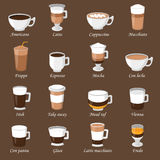 Coffee cups different cafe drinks types espresso mug with foam beverage breakfast morning sign vector. Royalty Free Stock Image