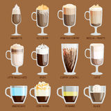 Coffee cups different cafe drinks Stock Photo