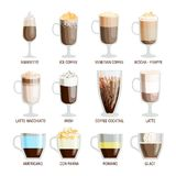 Coffee cups different cafe drinks Stock Photography