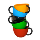Coffee cups with different colors Royalty Free Stock Image