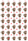 Coffee Cups Dots and Hearts Background Royalty Free Stock Images