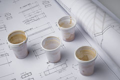 Coffee cups on draft Royalty Free Stock Photos
