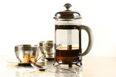 Coffee cups with french press Royalty Free Stock Photo