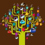 Coffee cups hanging on tree. An illustration of a variety of coffee cups and saucers hanging on the outline of a tree Stock Illustration