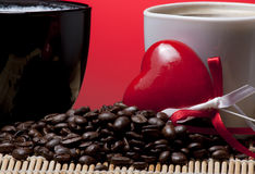 Coffee cups, heart and beans Royalty Free Stock Image