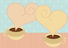 Coffee cups with heart steam valentines card. Invitation card with two cups of chocolate or coffee cup with steam in heart speech Stock Photography